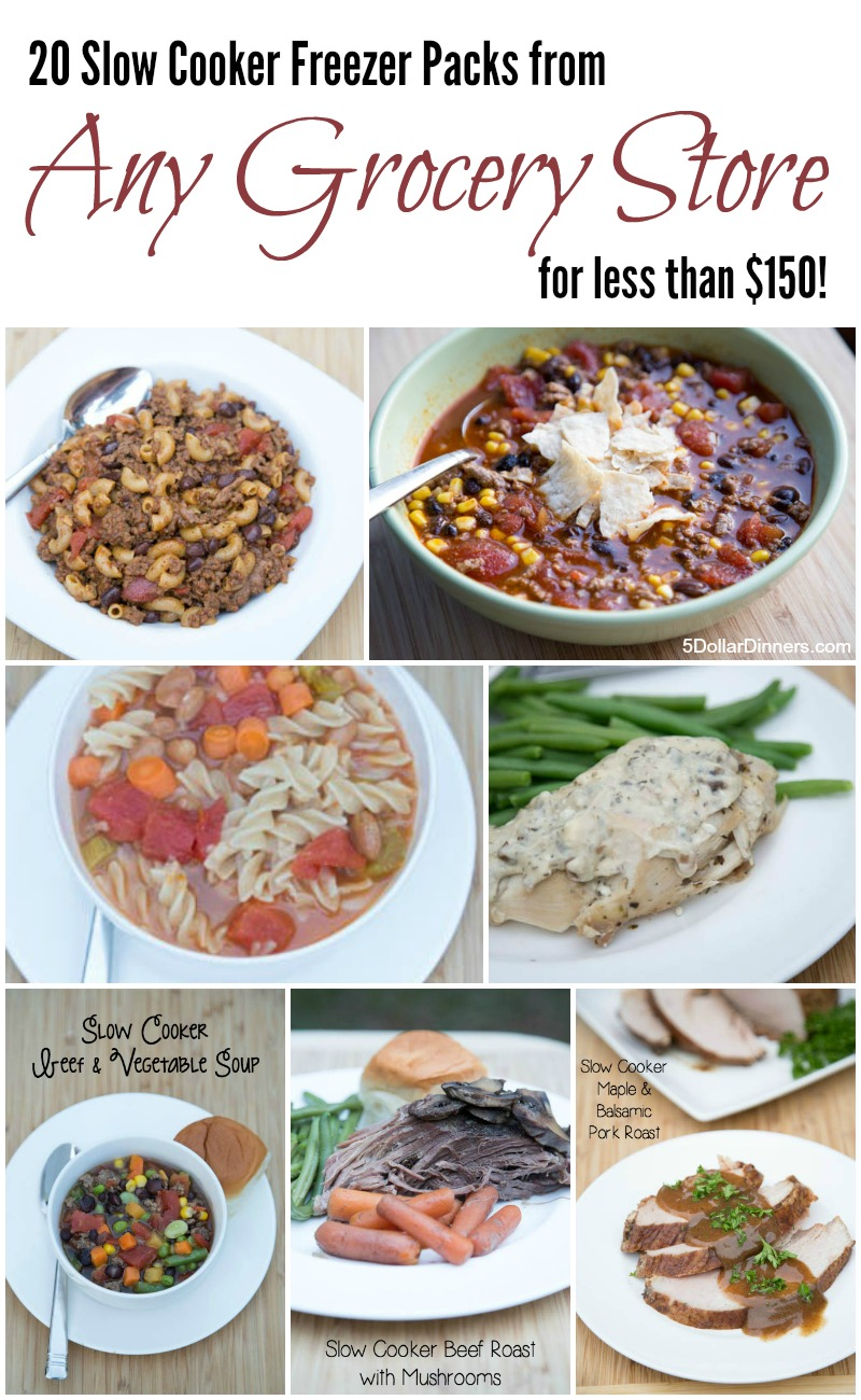 20 Slow Cooker Freezer Packs from any Grocery Store | 5DollarDinners.com