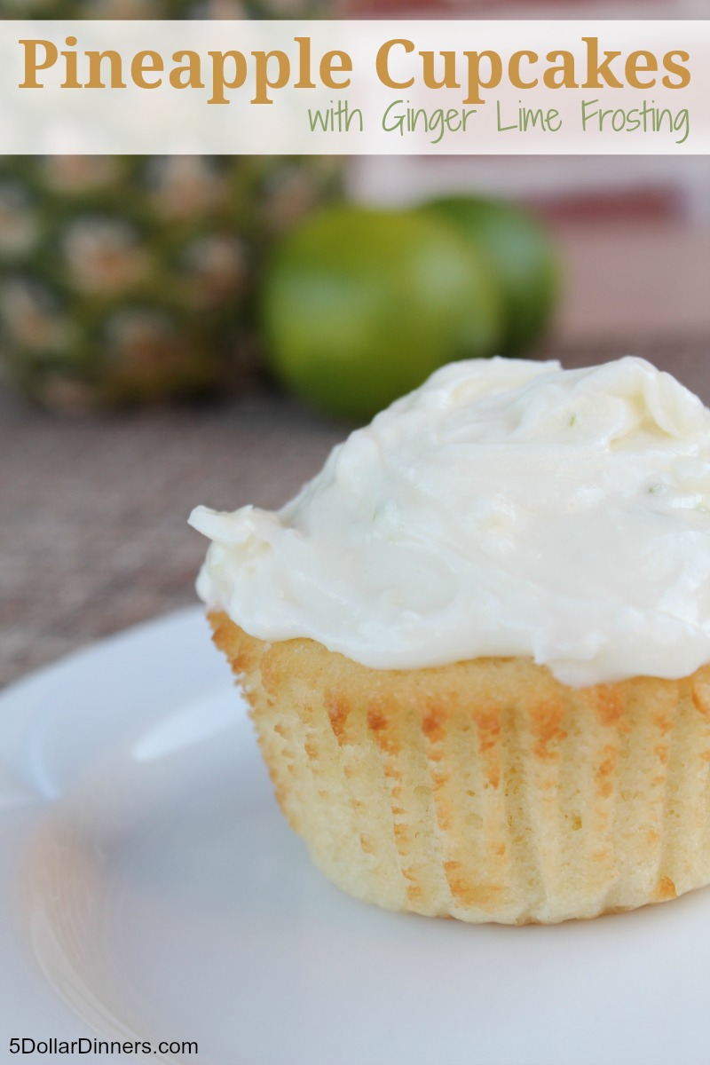 Pineapple Cupcakes with Ginger Lime Frosting | 5DollarDinners.com