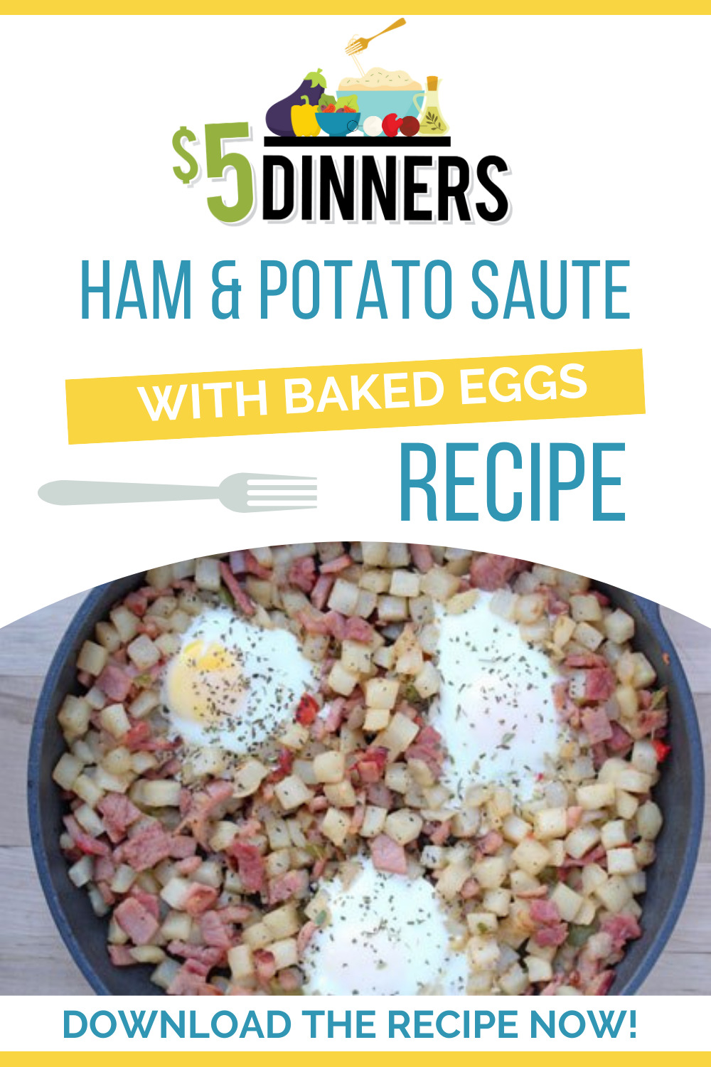 ham and potato saute with baked eggs