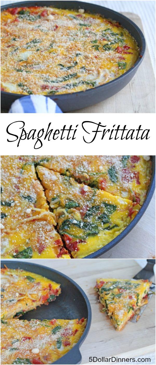 Spaghetti Frittata ~ easy skillet dinner | 5DollarDinners.com
