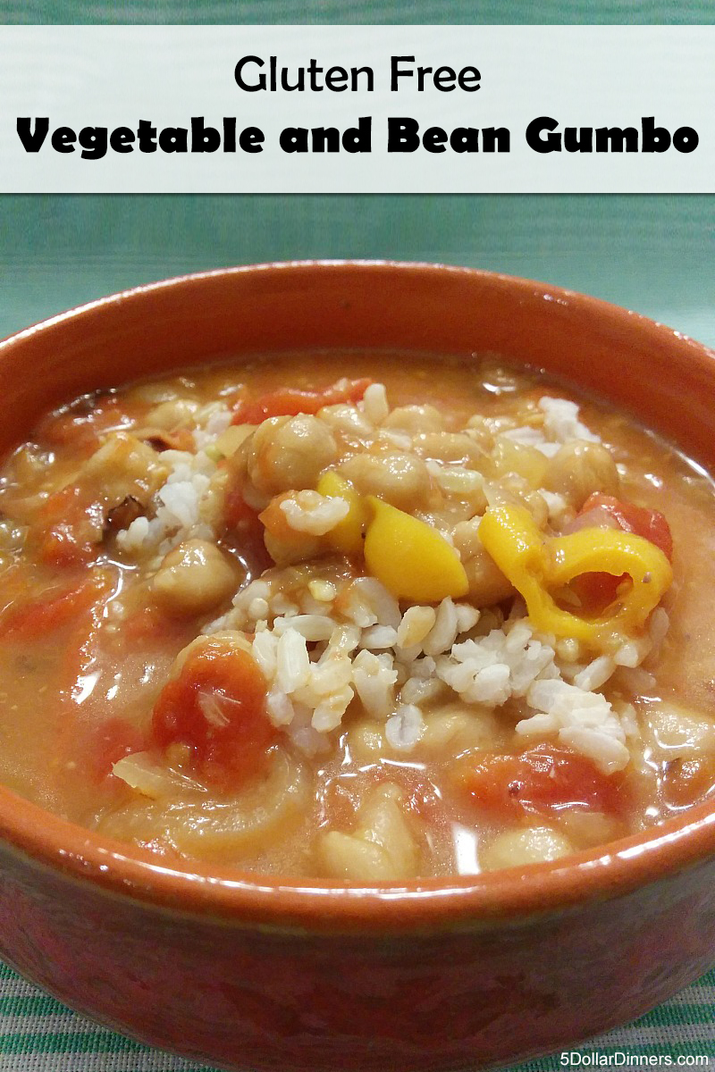 Gluten Free Vegetable and Bean Gumbo ~ freezer friendly! | 5DollarDinners.com