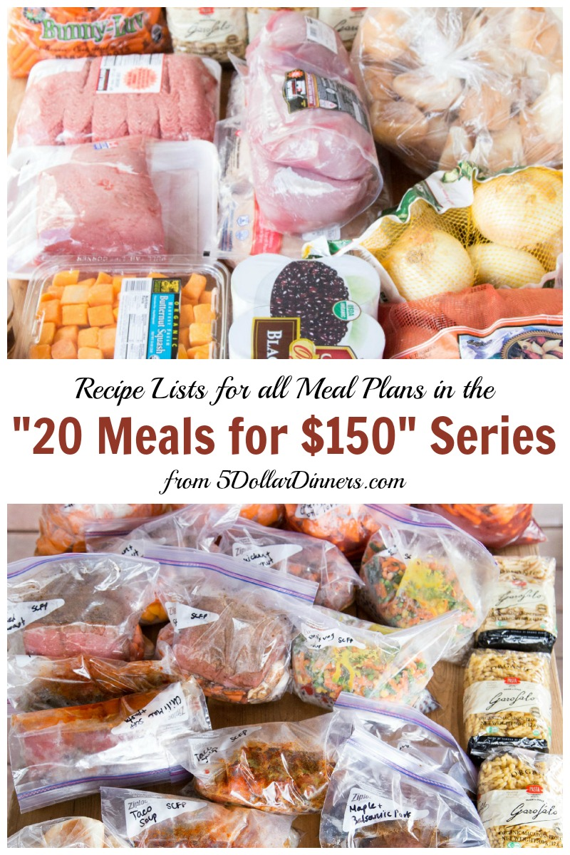 "Recipe Lists for All Meal Plans in the ""20 Meals for $150"" Series 
