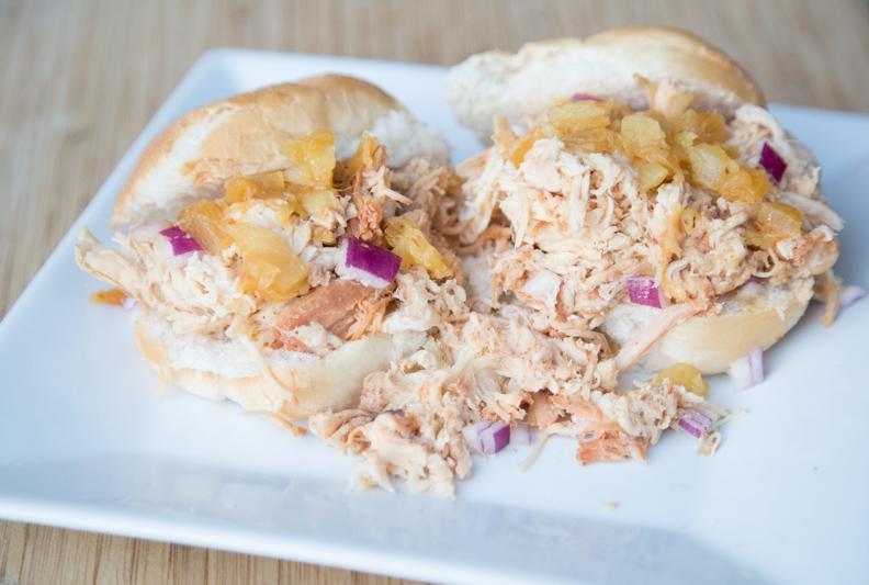 Shredded Hawaiian Chicken Sandwiches