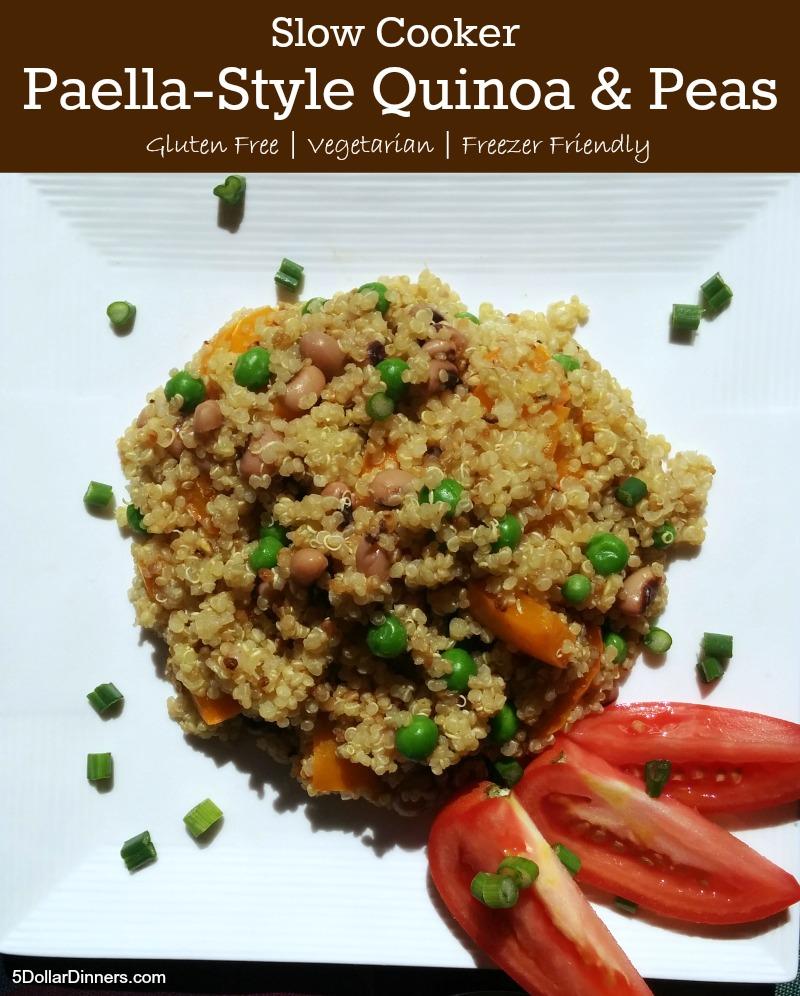 Slow Cooker Paella-Style Quinoa and Peas | 5DollarDinners.com