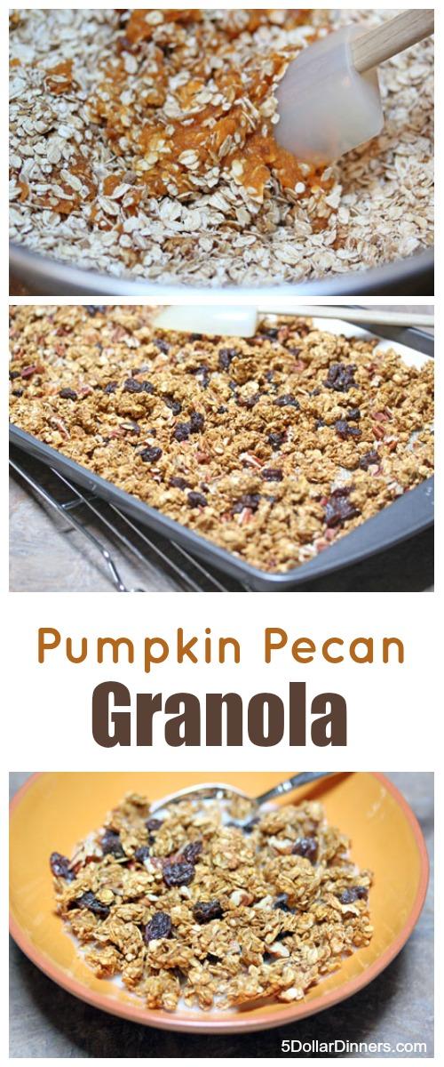 Homemade Pumpkin Pecan Granola   5DollarDinners.com