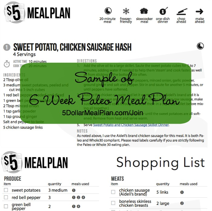 New 6-Week Paleo Meal Plan Available from The $5 Meal Plan