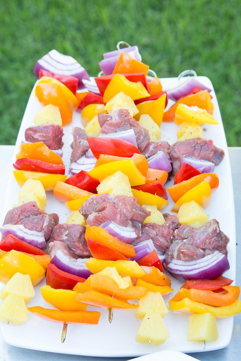 Steak Pineapple Pepper Kebabs