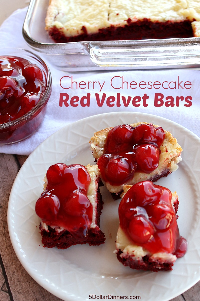 Cherry Cheesecake Red Velvet Bars | 5DollarDinners.com