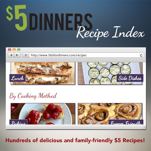 Featuring our brand new recipe index on $5 Dinners!