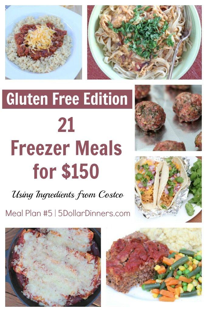 Gluten Free 21 Freezer Meals for $150 Meal Plan #5 from 5DollarDinners.com