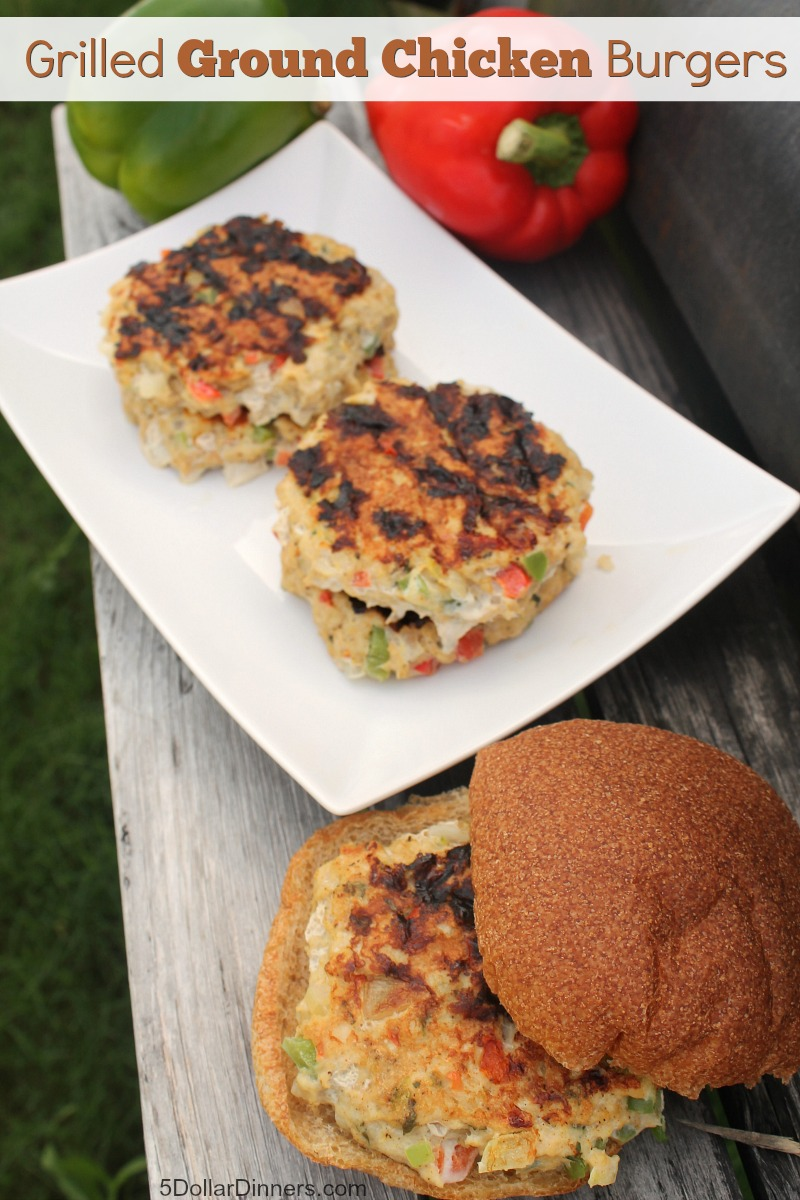 Grilled Ground Chicken Burgers from 5DollarDinners.com