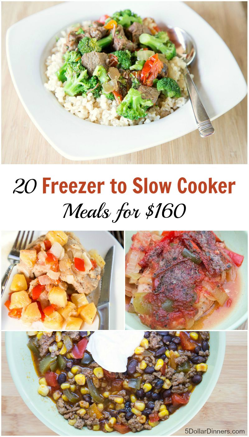 20 Freezer to Slow Cooker Meals for 160