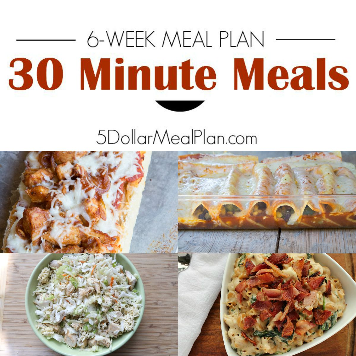 6 Week Meal Plan Featuring ALL 30 Minute Meals from 5DollarDinners.com