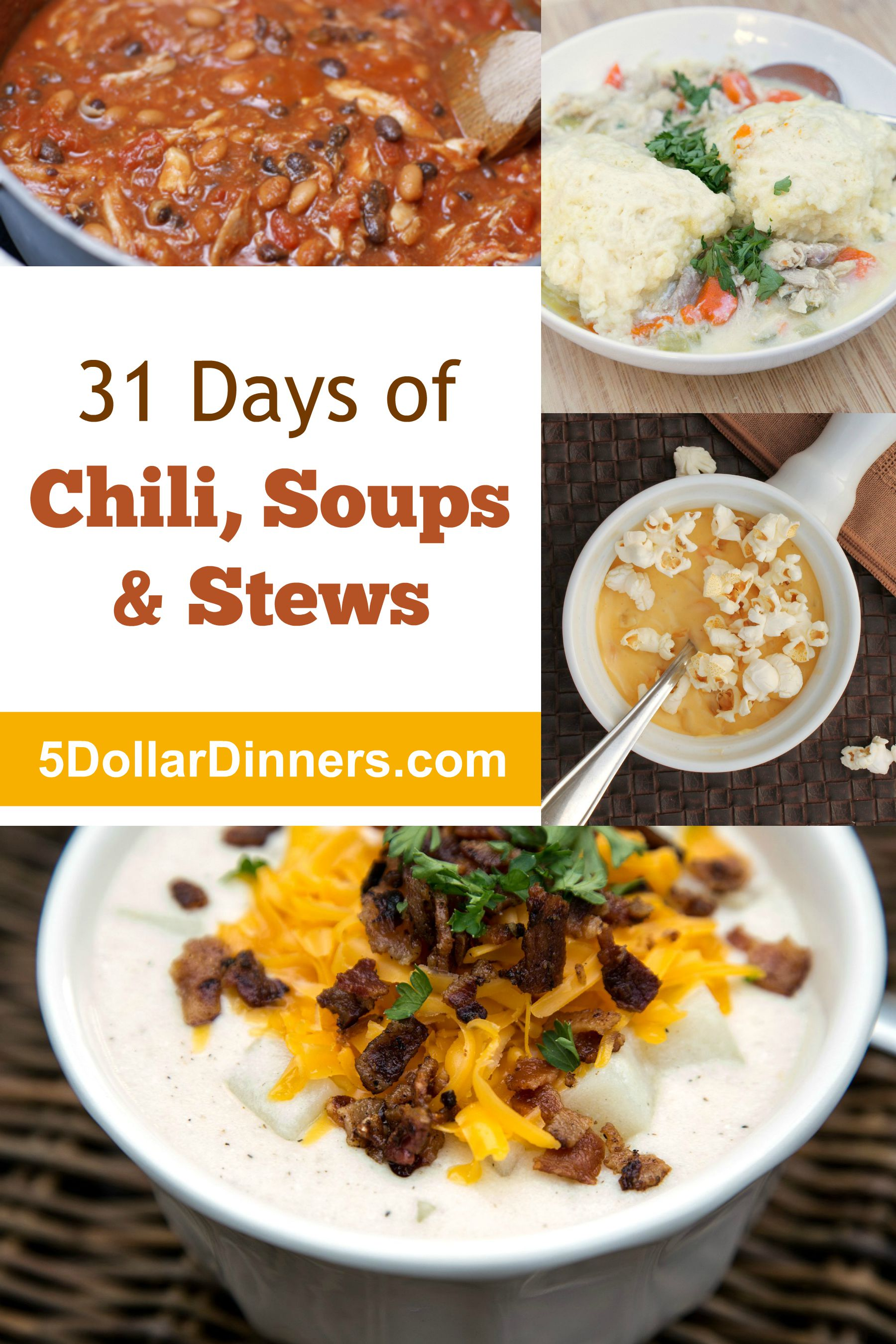 31 Days of Soups, Chili, and Stews from 5DollarDinners.com