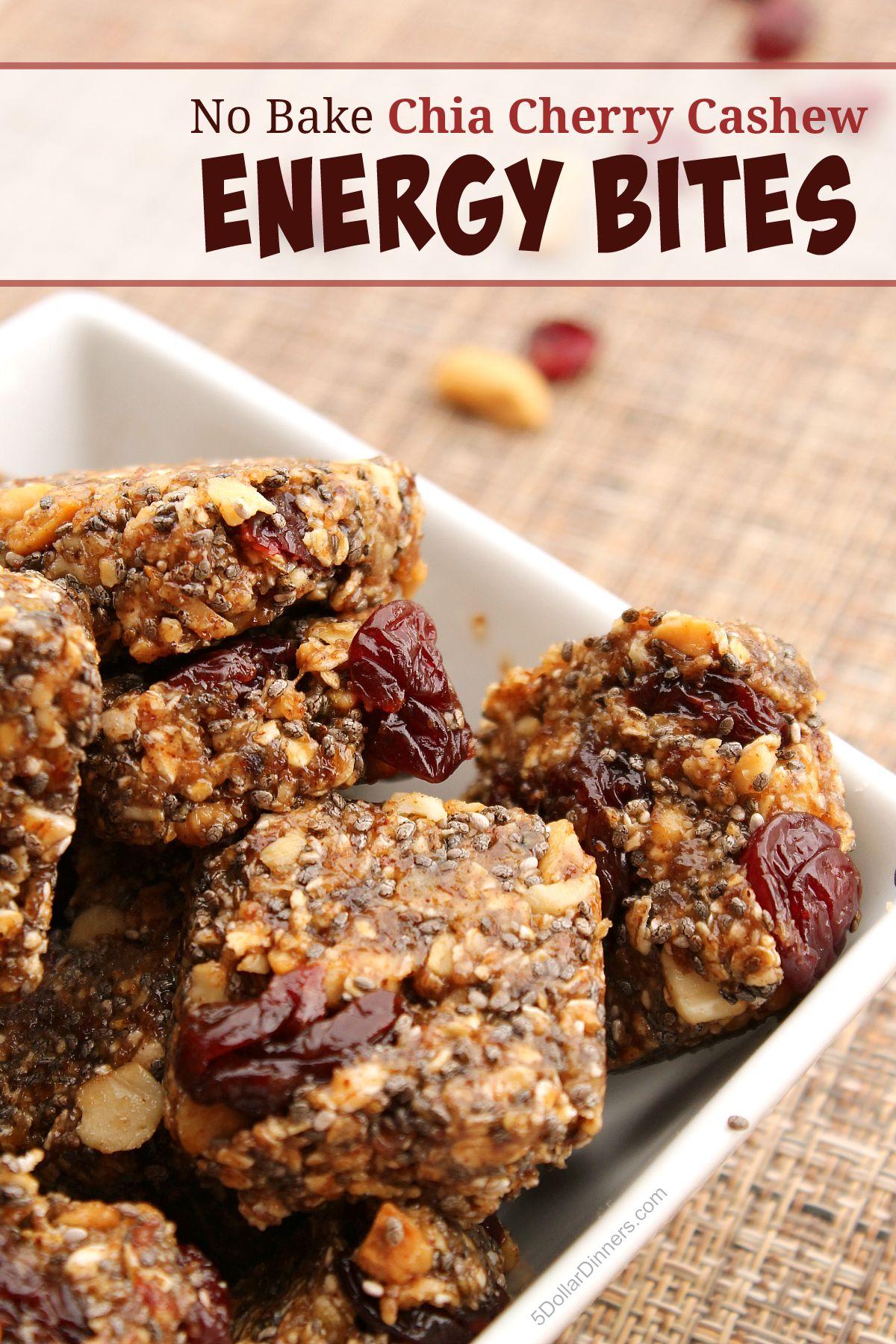 No Bake Chia Cherry Cashew Energy Bites from 5DollarDinners.com