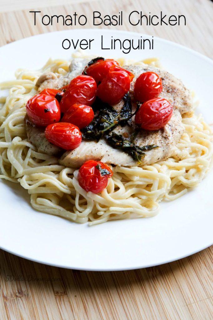 Tomato Basil Chicken on Linguini Recipe