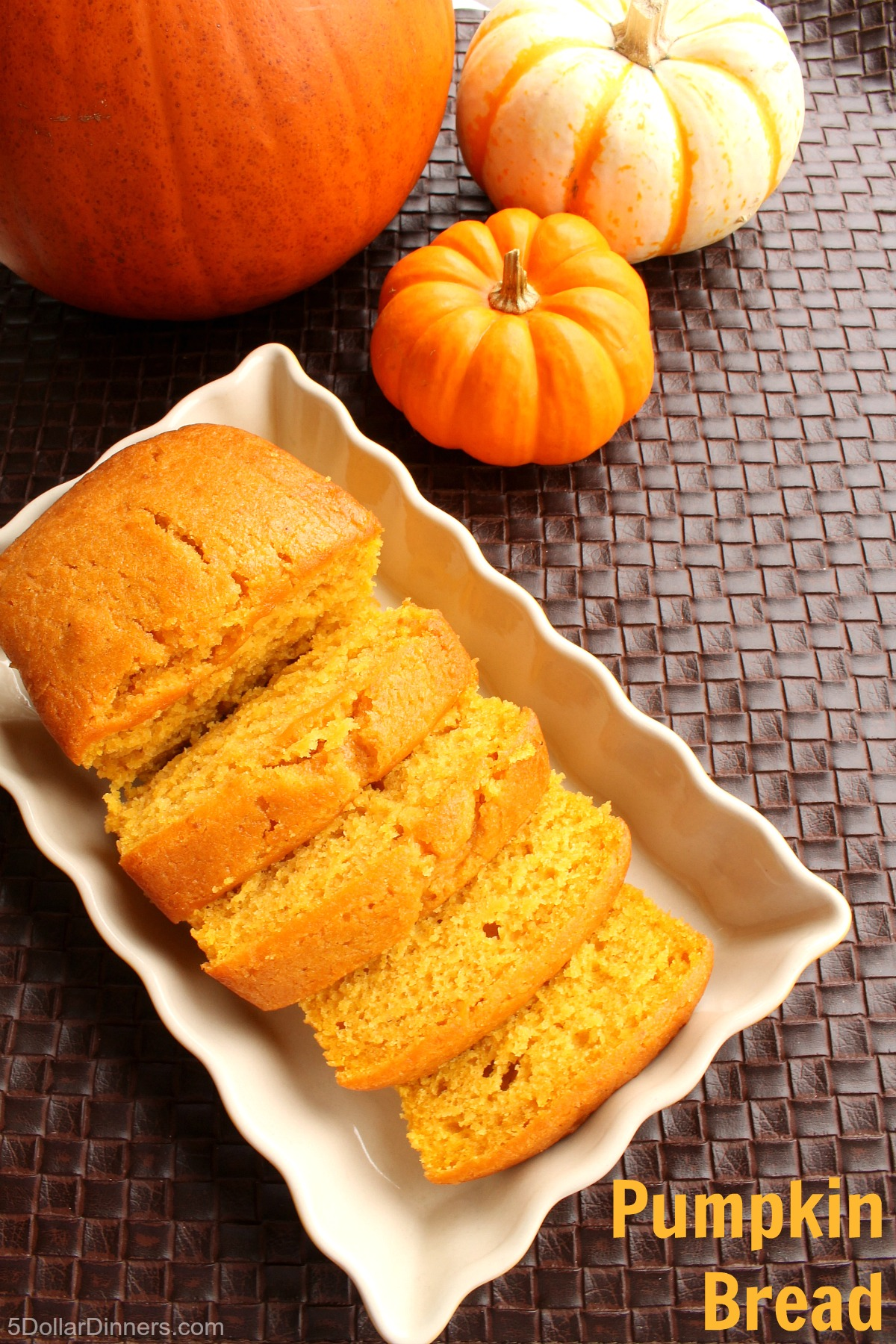 Homemade Pumpkin Bread from 5DollarDinners.com