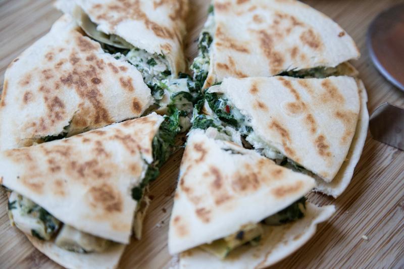 Chicken, Spinach & Artichoke Quesadilla-6