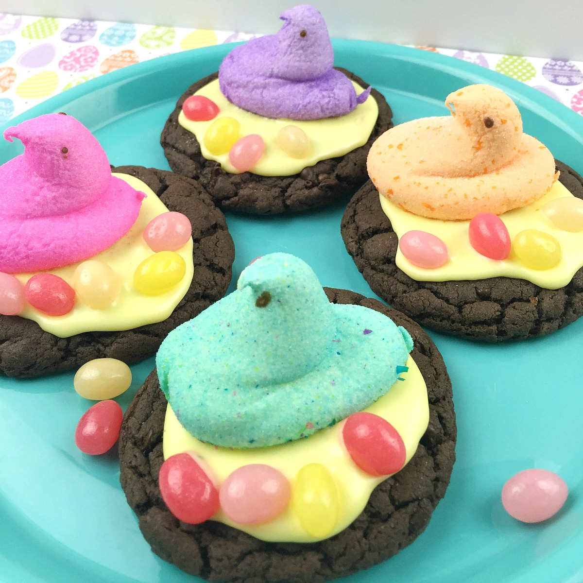 Marshmallow Peep Chocolate Easter Cookies from 5DollarDinners.com