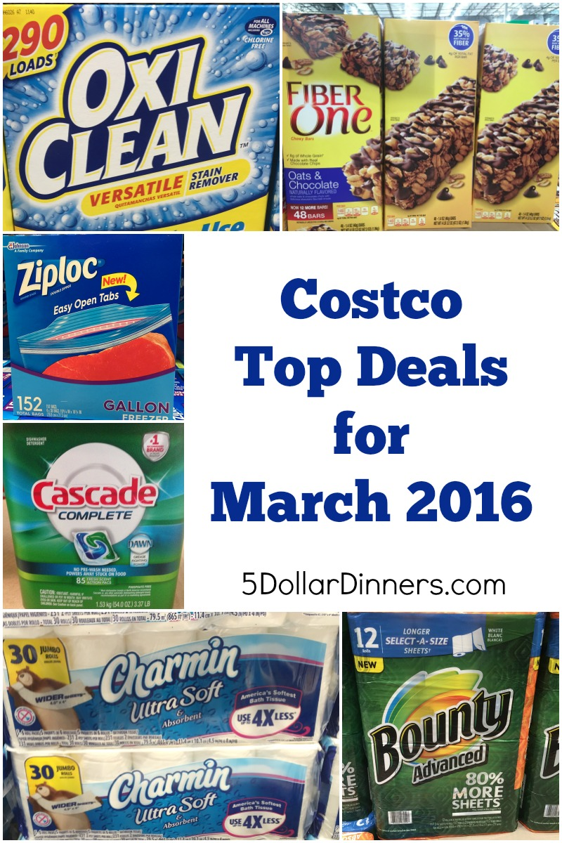 Costco Top Deals for March 2016 from 5DollarDinners.com