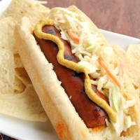 Grilled Hot Links topped with homemade Coleslaw from 5DollarDinners.com