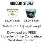 {Free Ingredient Price Comparison Sheet} Are You Paying Too Much for Yogurt (or other popular ingredients)?
