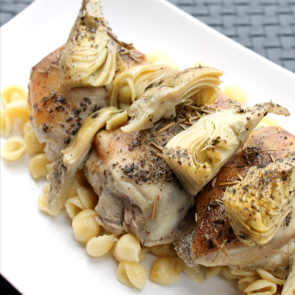 Slow Cooker Rosemary Artichoke Chicken Thighs