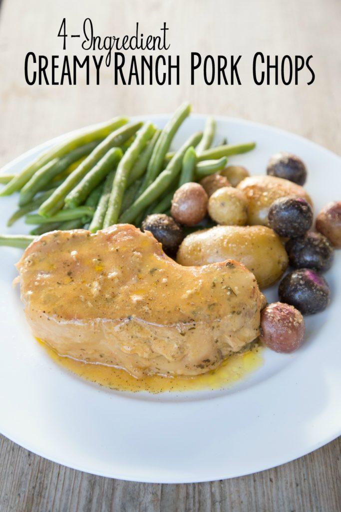 4-Ingredient Creamy Ranch Pork Chops on 5DollarDinners.com