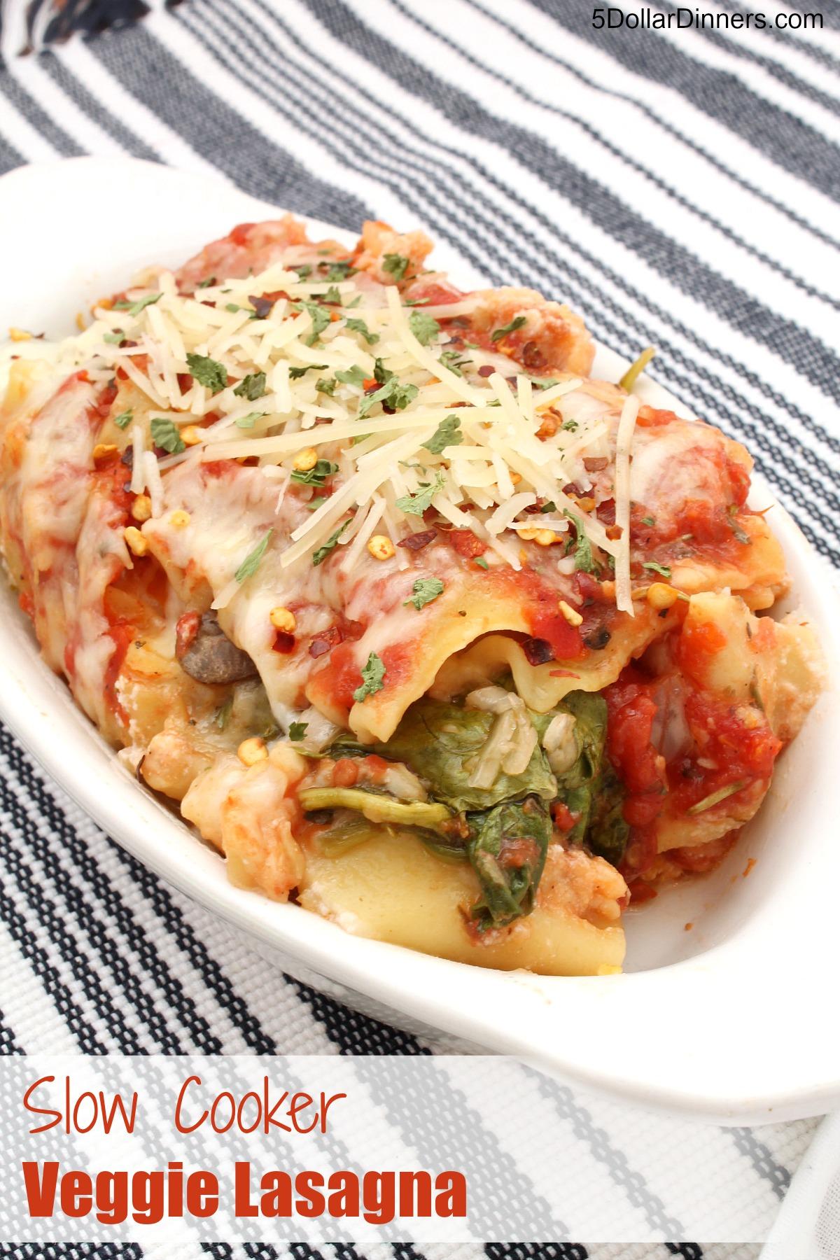 Slow Cooker Veggie Lasagna from 5DollarDinners.com