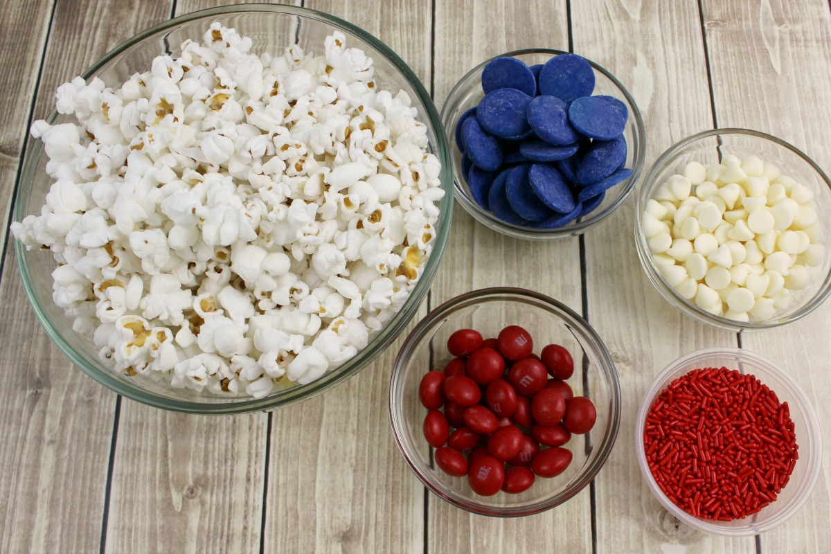 Patriotic White Chocolate Popcorn Recipe from 5DollarDinners.com