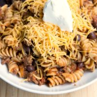 Freezer Friendly Twirly Taco Pasta Skillet Recipe from 5DollarDinners.com
