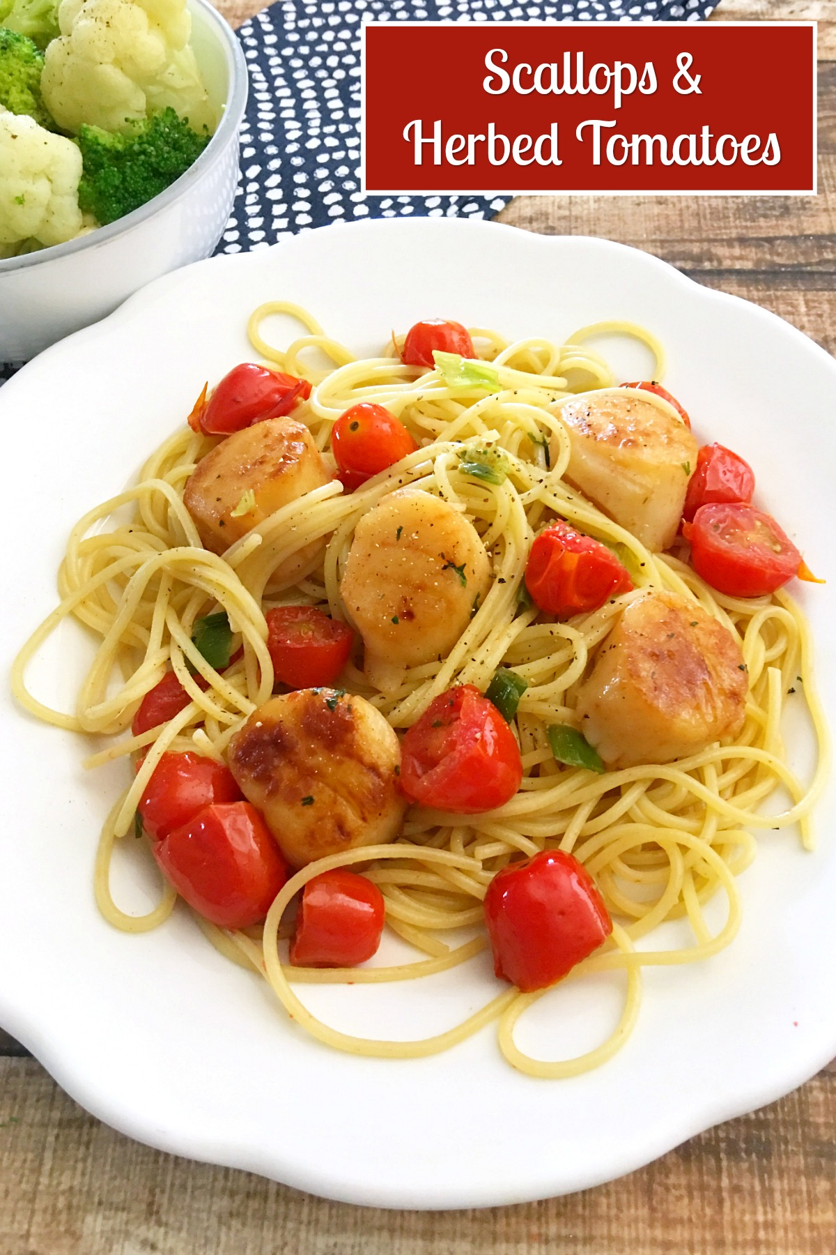 Freezer Friendly Scallops and Herbed Tomatoes ~ quick & easy skillet dinner from 5DollarDinners.com