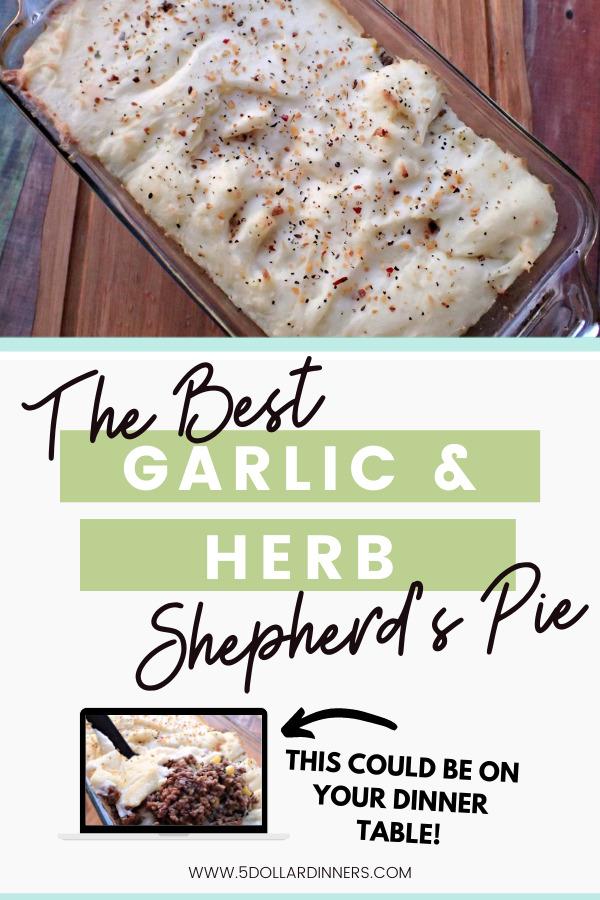 garlic and herb shepherds pie