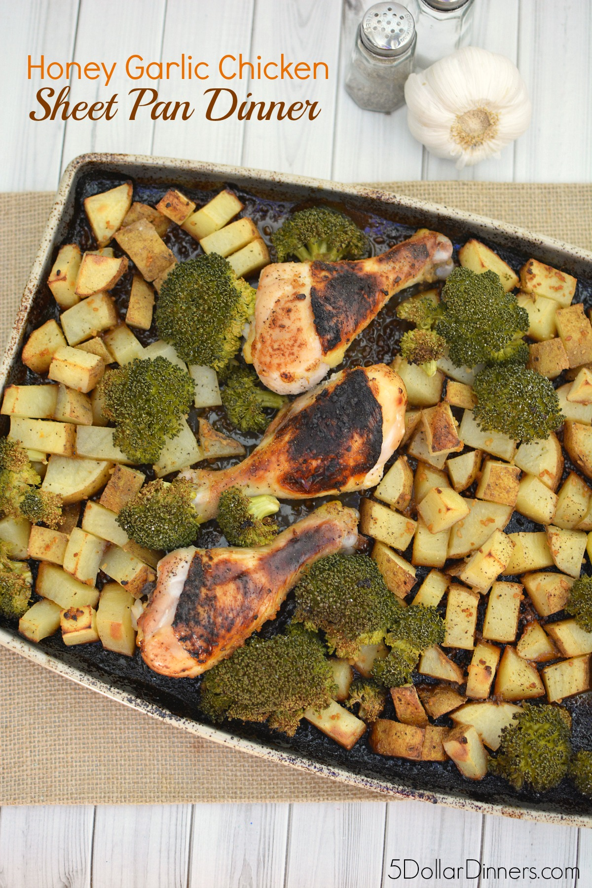 Honey Garlic Chicken Sheet Pan Dinner from 5DollarDinners.com