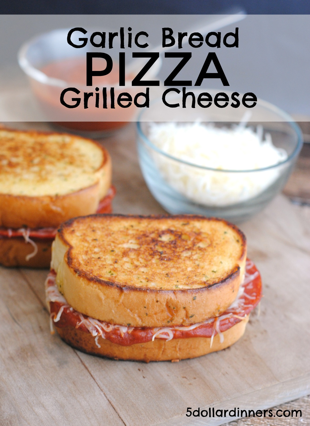 garlic bread pizza grilled cheese