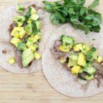 Instant Pot Shredded Beef Tacos with Mango Avocado Salsa