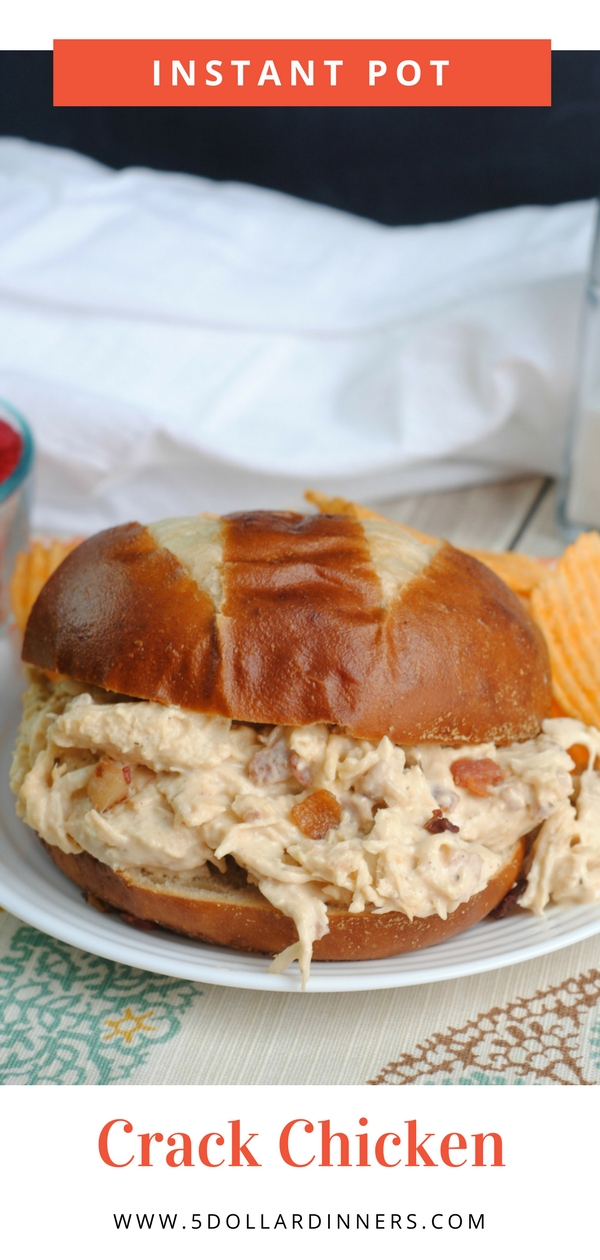 Crack Chicken is an Easy Crowd Pleasing Instant Pot Recipe! The perfect BBQ sandwich for the Summer on 5DollarDinners!