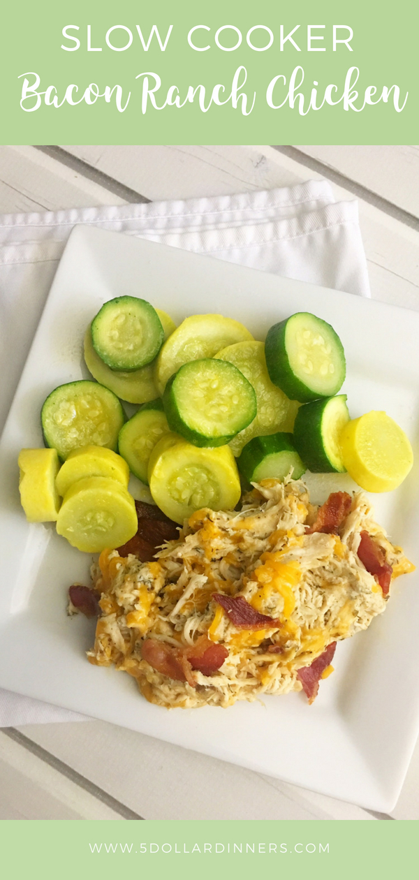 For those hot summer days pull out the crockpot and enjoy this Slow Cooker Bacon Ranch Chicken recipe on 5 Dollar Dinners!