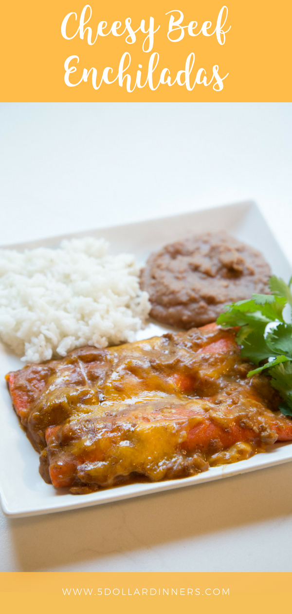 Cheesy Beef Enchiladas would be the perfect dish to spice up your menu...on 5 Dollar Dinners!!!