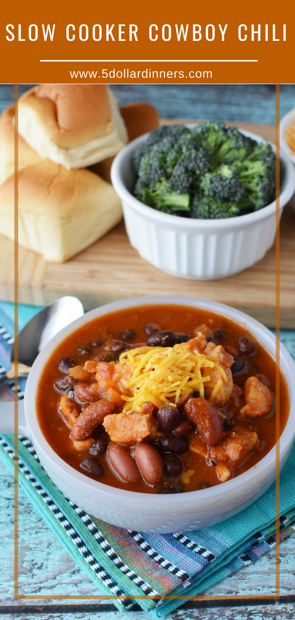 You'll fall in love with this rustic slow cooker dish, Slow Cooker Cowboy Chili. Easy and feeds a crowd! Find this delicious recipe on 5 Dollar Dinners!