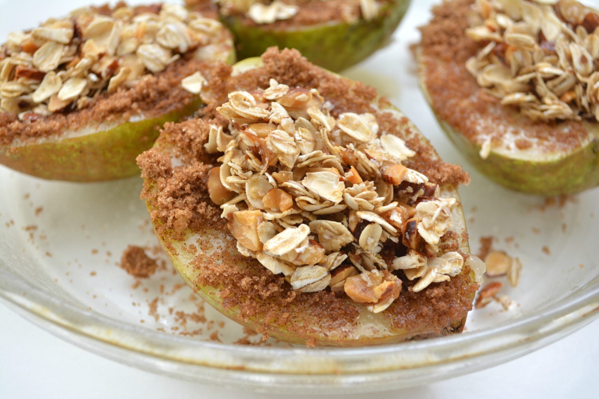 Baked Pears with Oats and Almonds are the perfect dessert or breakfast and it's all on 5 Dollar Dinners!