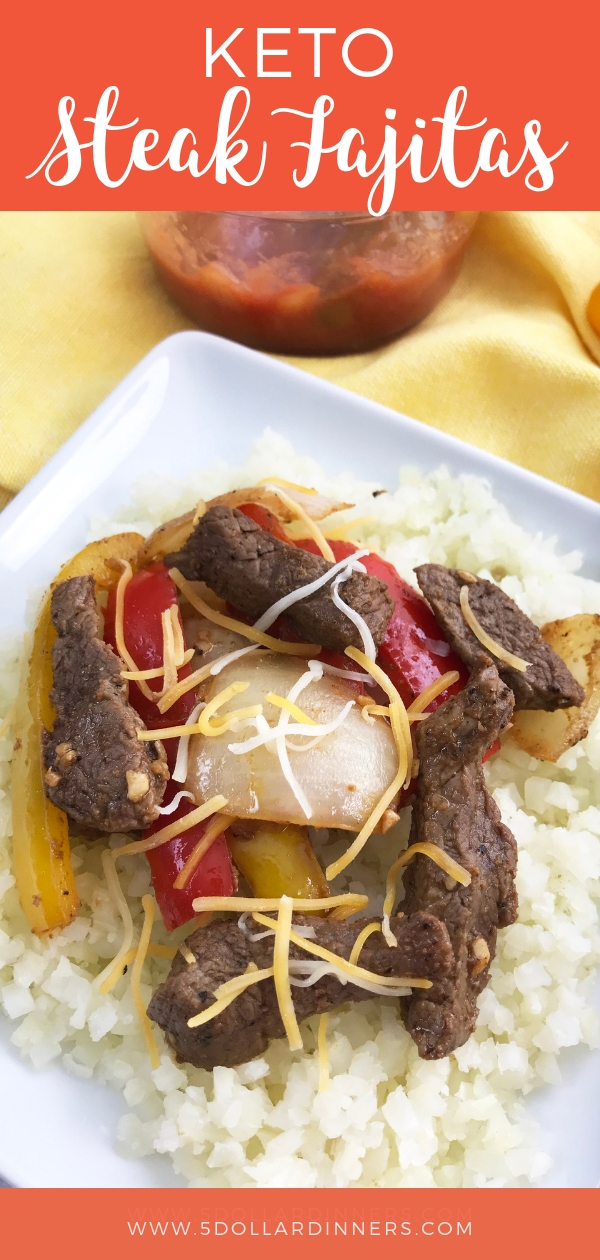 The perfect and easy low carb dish, Keto Steak Fajitas all on 5 Dollar Dinners!