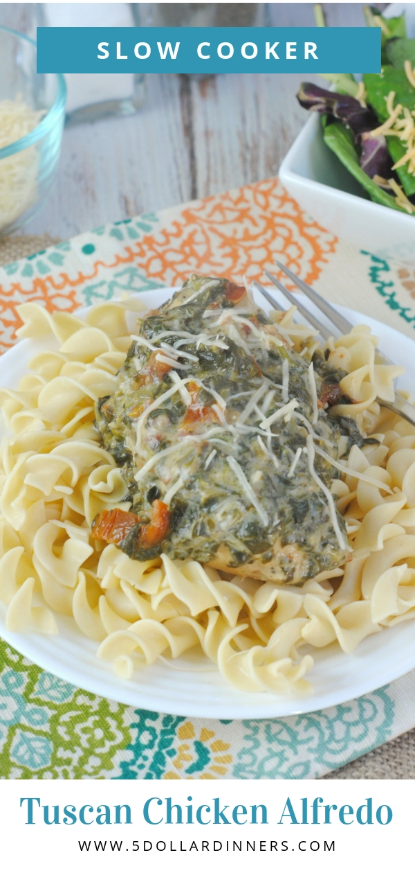 Slow Cooker Tuscan Chicken Alfredo is the perfect weeknight meal for those busy days! Find it all on 5DollarDinners.com