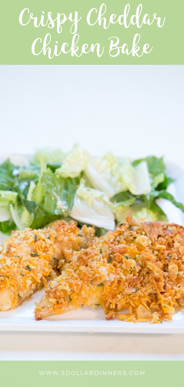 Kid Friendly Alert!!! This Crispy Cheddar Chicken Bake recipe will be a real treat in your home! Find this delicious recipe on 5dollardinners.com.