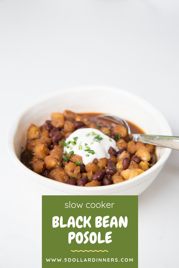 Slow Cooker Black Bean Posole - A Vegetarian Twist on a Favorite Mexican Soup!