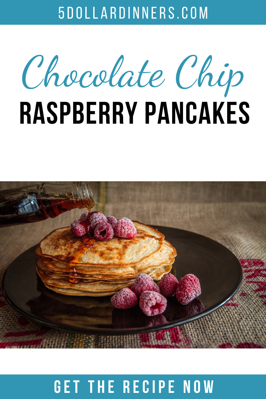 chocolate chip raspberry pancakes