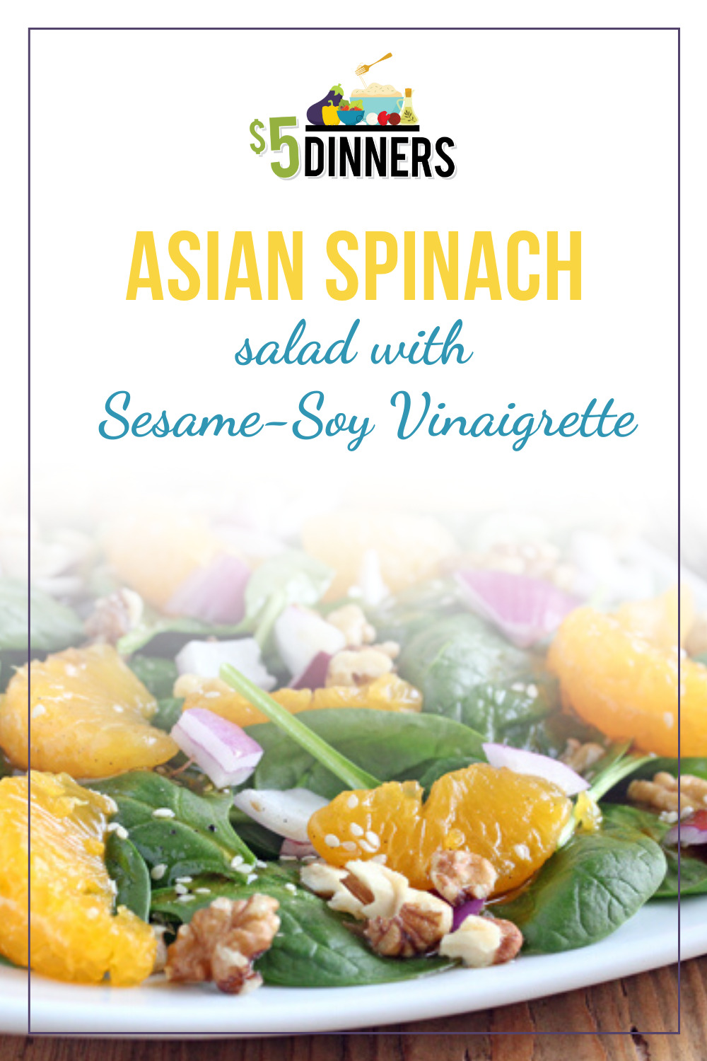 asian spinach salad with soy-sesame vinaigrette