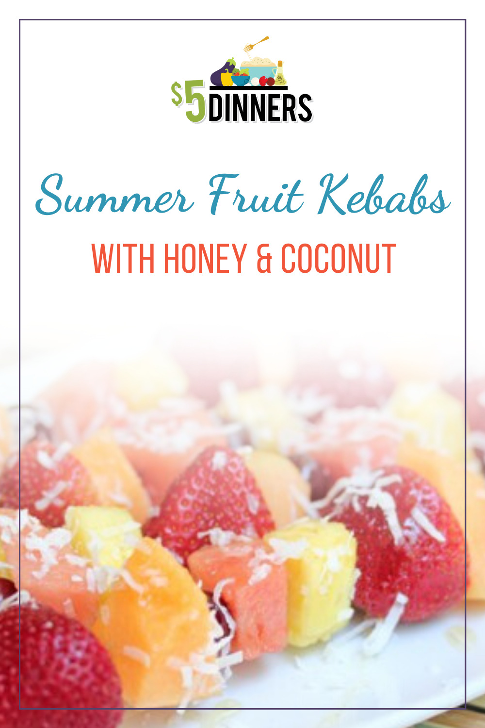 summer fruit kebabs with honey and coconut