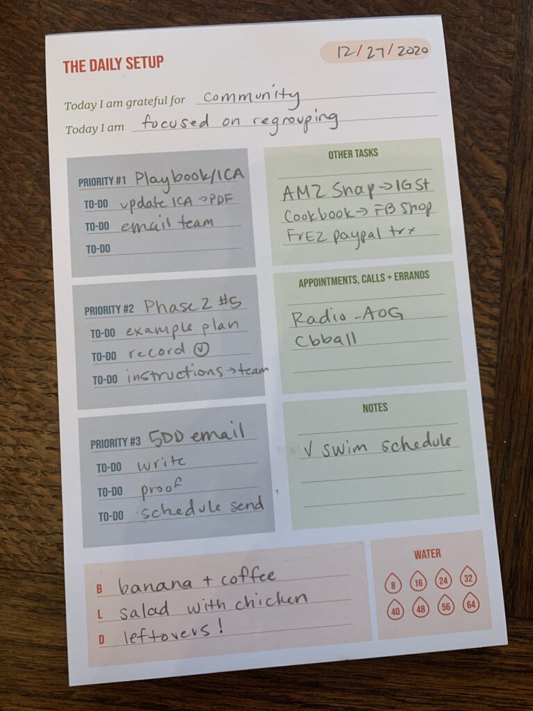 Daily Setup Tearpad from Erin Chase