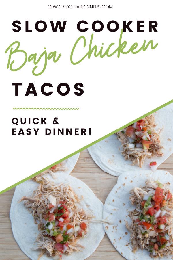 slow cooker baja shredded chicken tacos